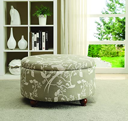 Ordinaire Round Upholstered Storage Ottoman Multi Color