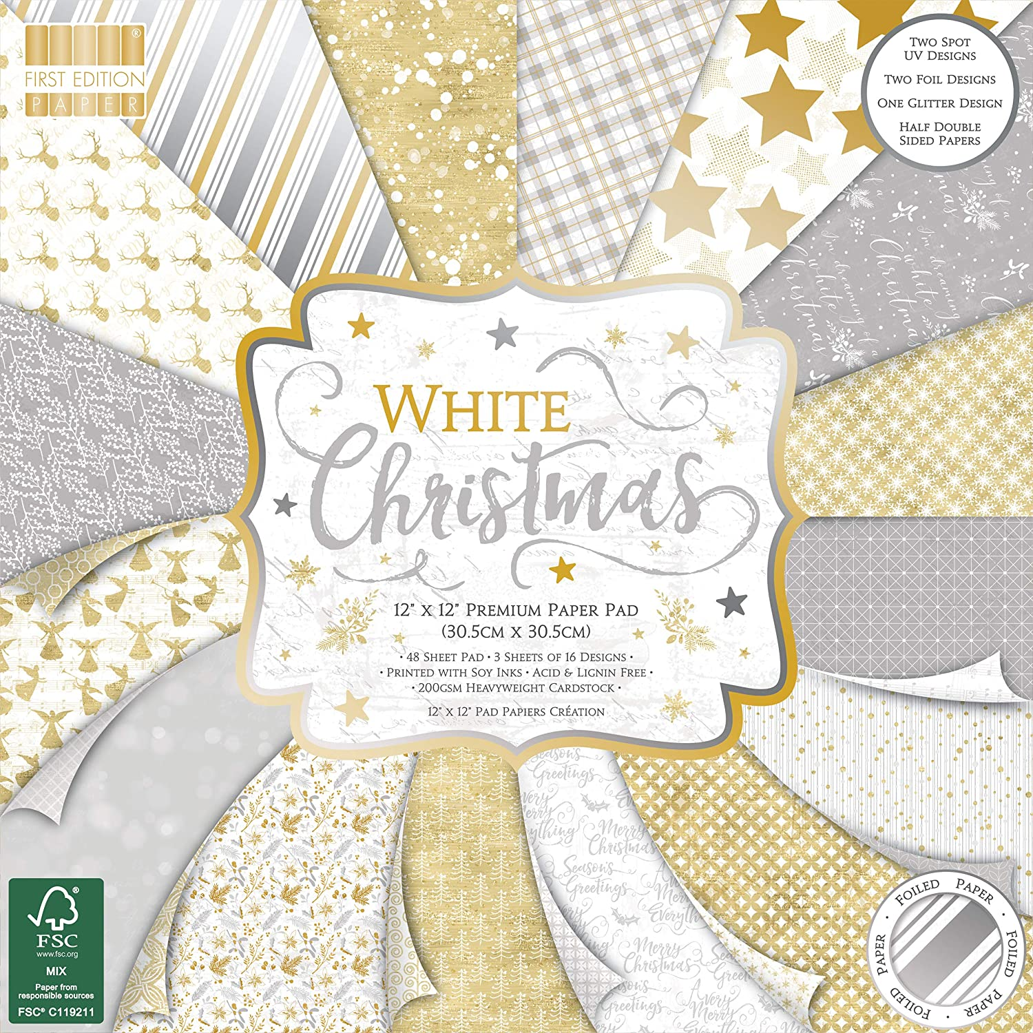 Scrapbooking Soy Inks-for Card Making Home Decor /& Papercraft 200gsm Heavyweight Cardstock Acid /& Lignin Free First Edition FSC 12x12 White Christmas-48 Sheet Pad One Size Multi-Colour