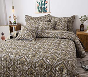 Tache Bohemian Spades Moroccan Neutral Olive Green Blue - Traditional Style Paisley Floral Damask Reversible Bedspread Coverlet Quilt Set - King