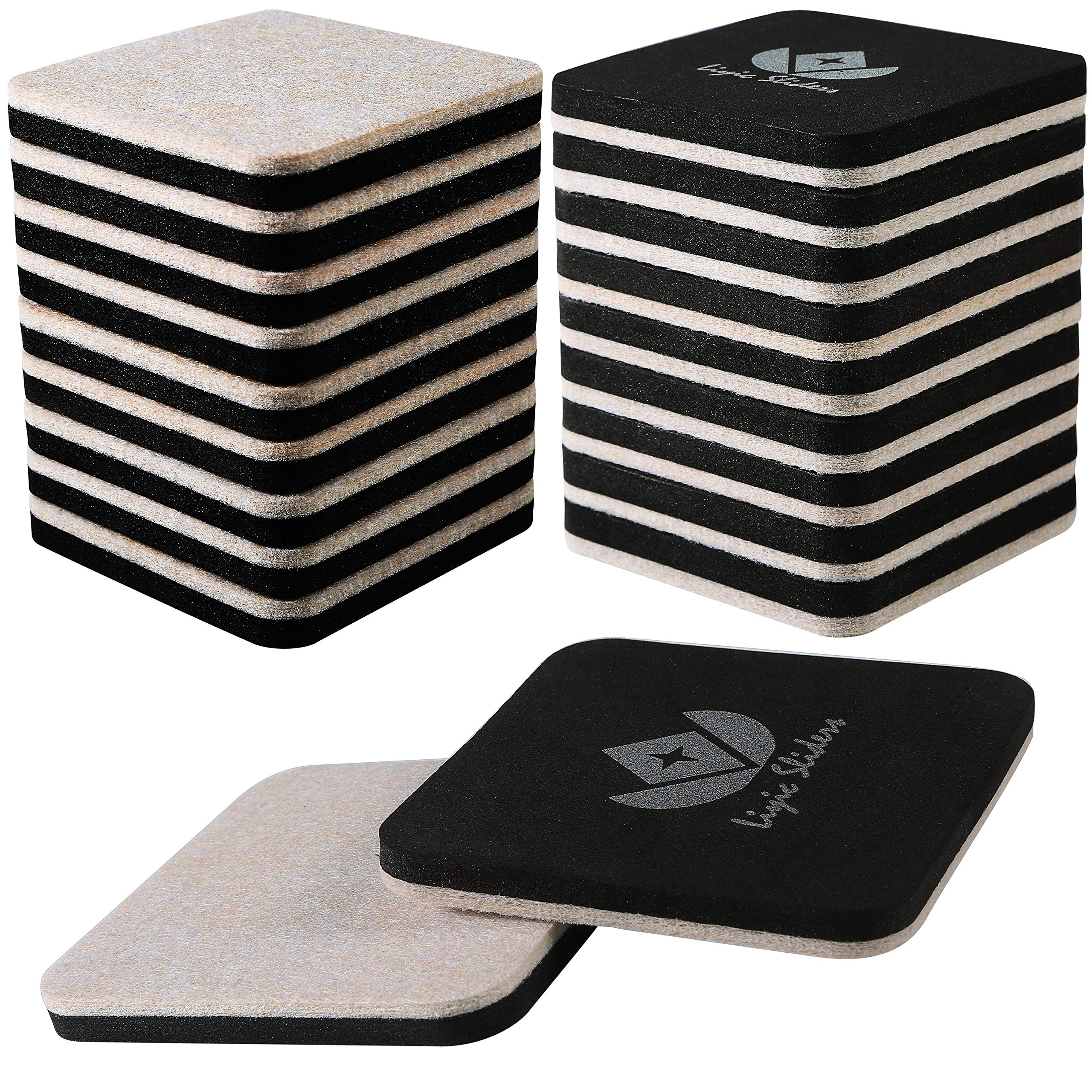 Liyic 20 Pack 3in.Square Felt Sliders for Hard Surfaces-Felt Furniture Sliders - Heavy Duty Sliders – Reusable Hardwood Floor Sliders -Furniture Moving Sliders-Sofa Sliders Gliders Glides Movers