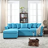 Modern Large Linen Fabric Sectional Sofa, L-Shape Couch with Extra Wide Chaise Lounge (Sky Blue)