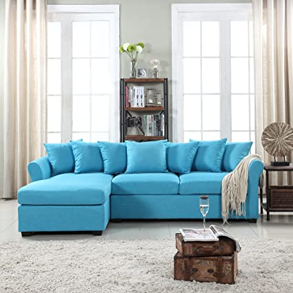 Wondrous Modern Large Linen Fabric Sectional Sofa L Shape Couch With Extra Wide Chaise Lounge Sky Blue Inzonedesignstudio Interior Chair Design Inzonedesignstudiocom