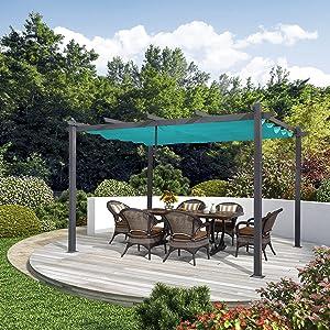 PURPLE LEAF 10' X 13' Aluminum Outdoor Retractable Canopy Pergola Deck Garden Patio Gazebo Grape Trellis Pergola, Turquoise Blue
