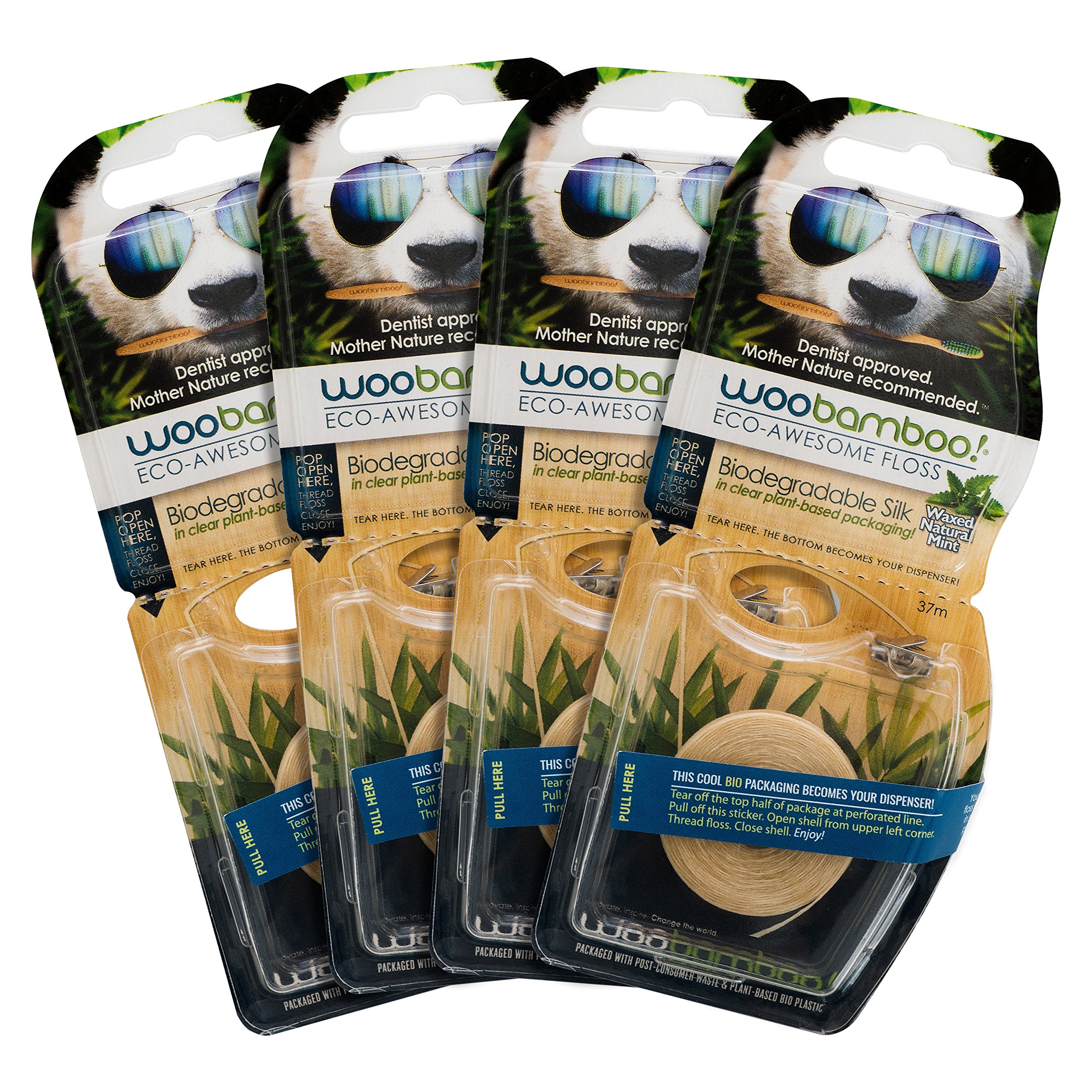Woobamboo Eco-Awesome Floss, Biodegradable Silk Floss in Plant-Based Packaging, 4 Pack