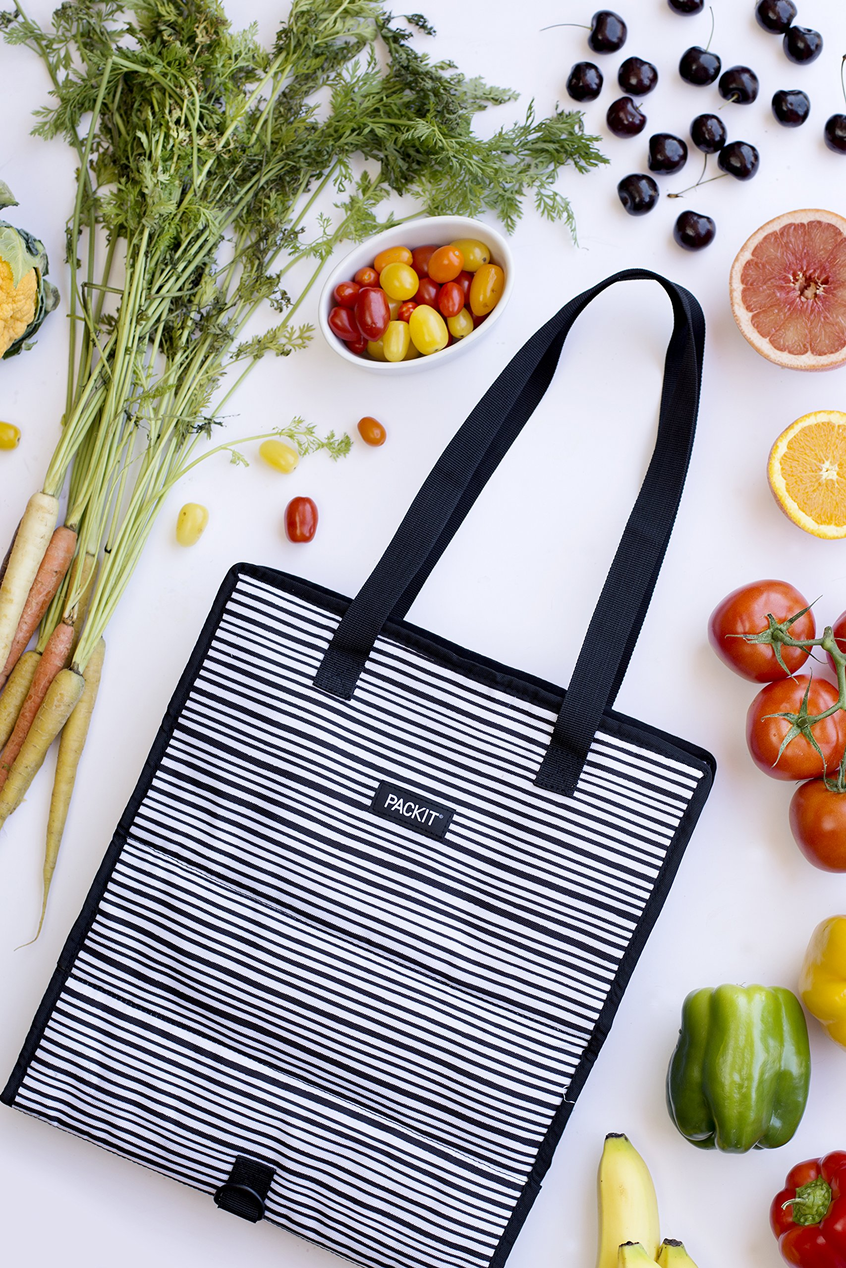 PackIt Freezable Grocery Shopping Bag with Zip Closure, Wobbly Stripes by PackIt (Image #5)