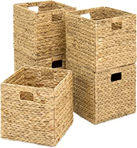 Best Choice Products Set of 5 Foldable Handmade Hyacinth Storage Baskets w/Iron Wire Frame