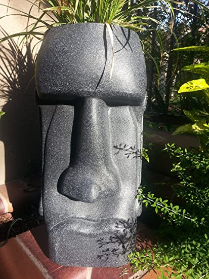 Sm Easter Island Moai Planter NEW COLOR (Black Granite)