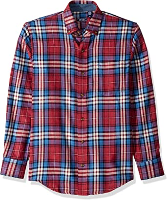 MOUTEN Mens Long Sleeve Washed Denim Flannel Button Down Plaid Printed Casual Shirts