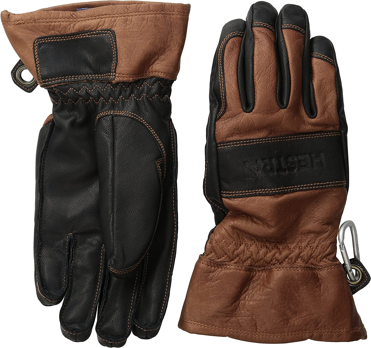 Hestra Unisex Mens and Womens Ski Gloves: Guide Leather Winter Glove with Wool Lining