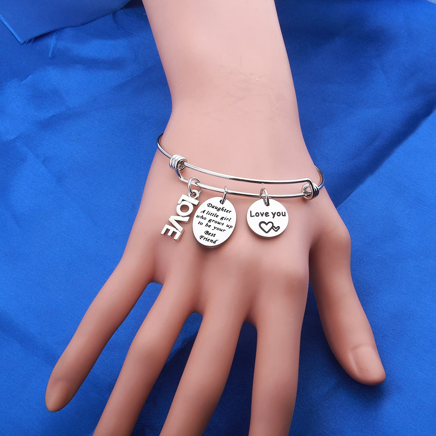 SEIRAA Mother Daughter Bracelet A Little Girl Who Grows Up to Be Your Best Friend Cuff Bangle Gifts for Teen Girl Wedding Day Gift