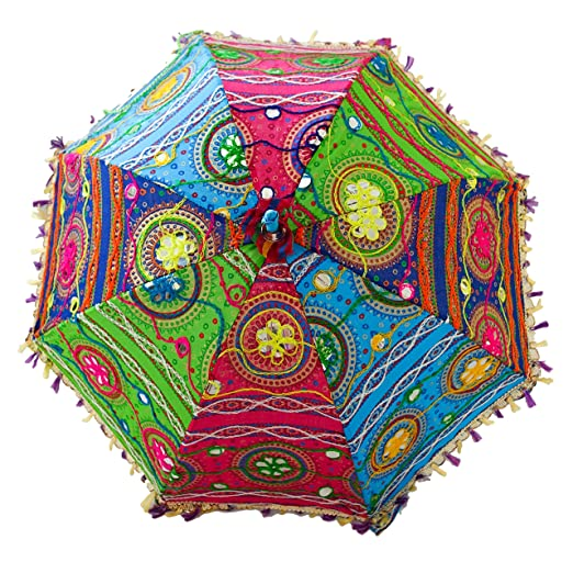 08ad3d2f4ab0 Bohemian Indian Handmade Design, Cotton Multi Color Embroidery Sun Umbrella  Parasol 24 Inches