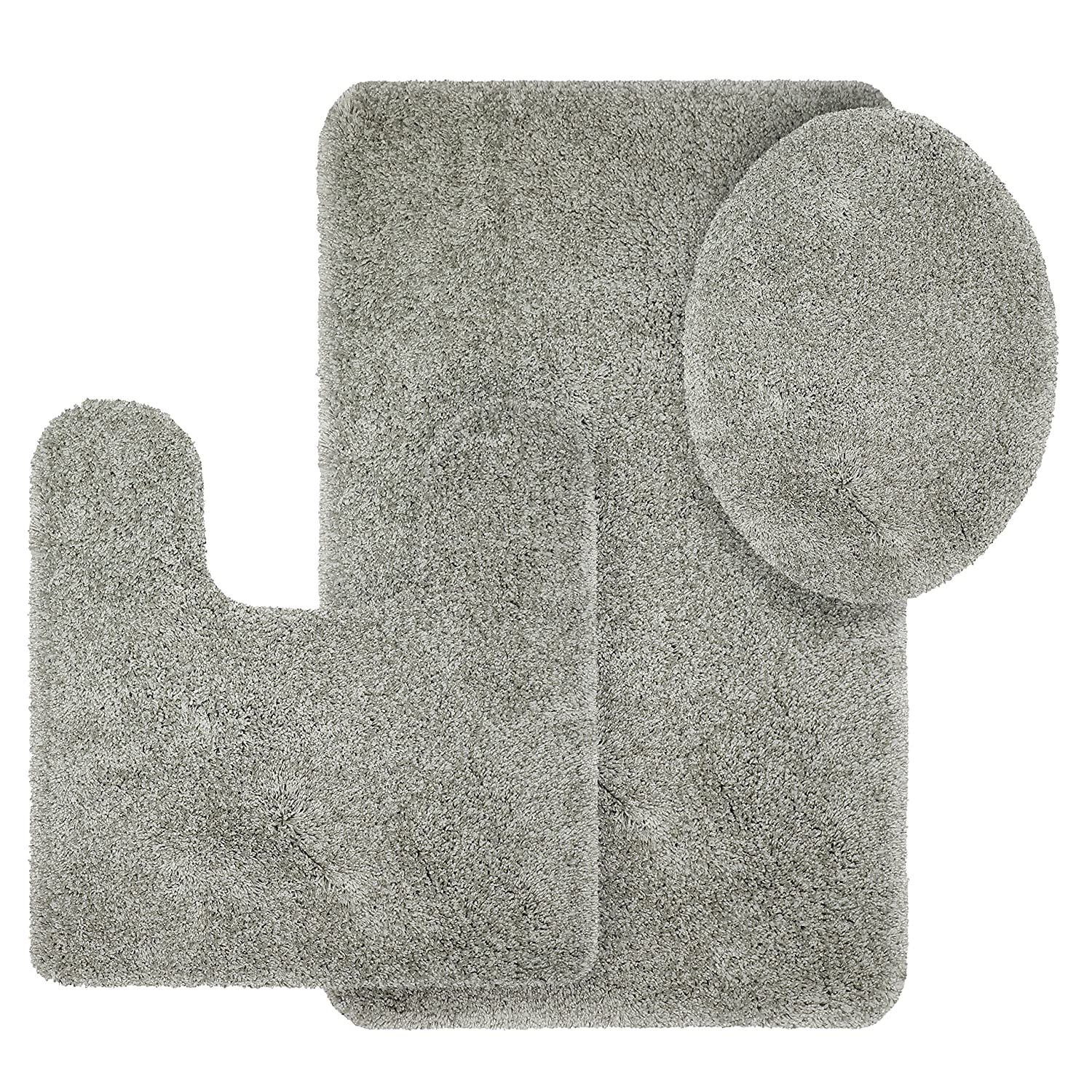 Better Homes and Gardens Thick and Plush 3-Piece Bath Rug Set, Soft Silver