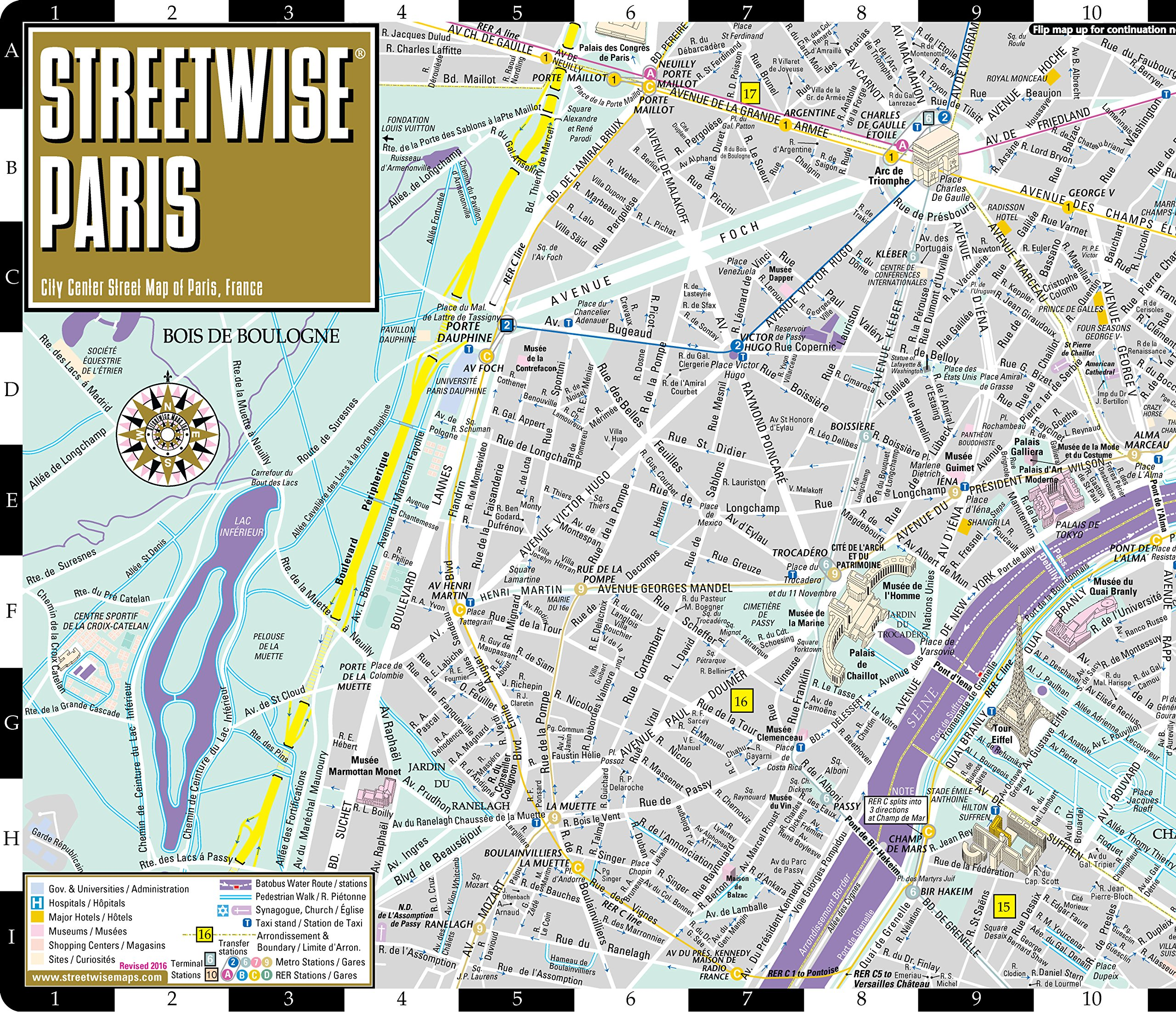 Travel Map Of France.Streetwise Paris Map Laminated City Center Street Map Of Paris