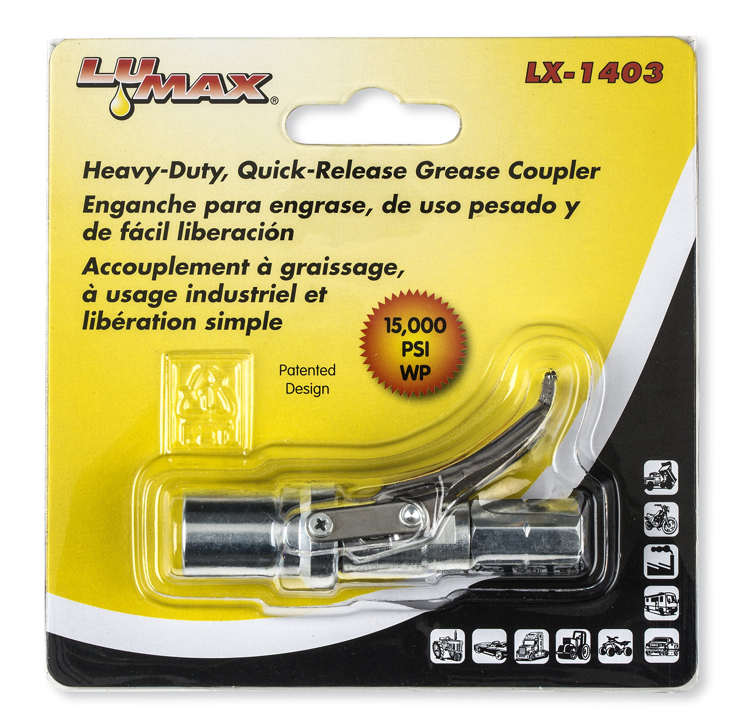 Lumax LX-1403 Silver Heavy-Duty Quick Release Grease Coupler, 1/8'' NPT by Lumax (Image #4)
