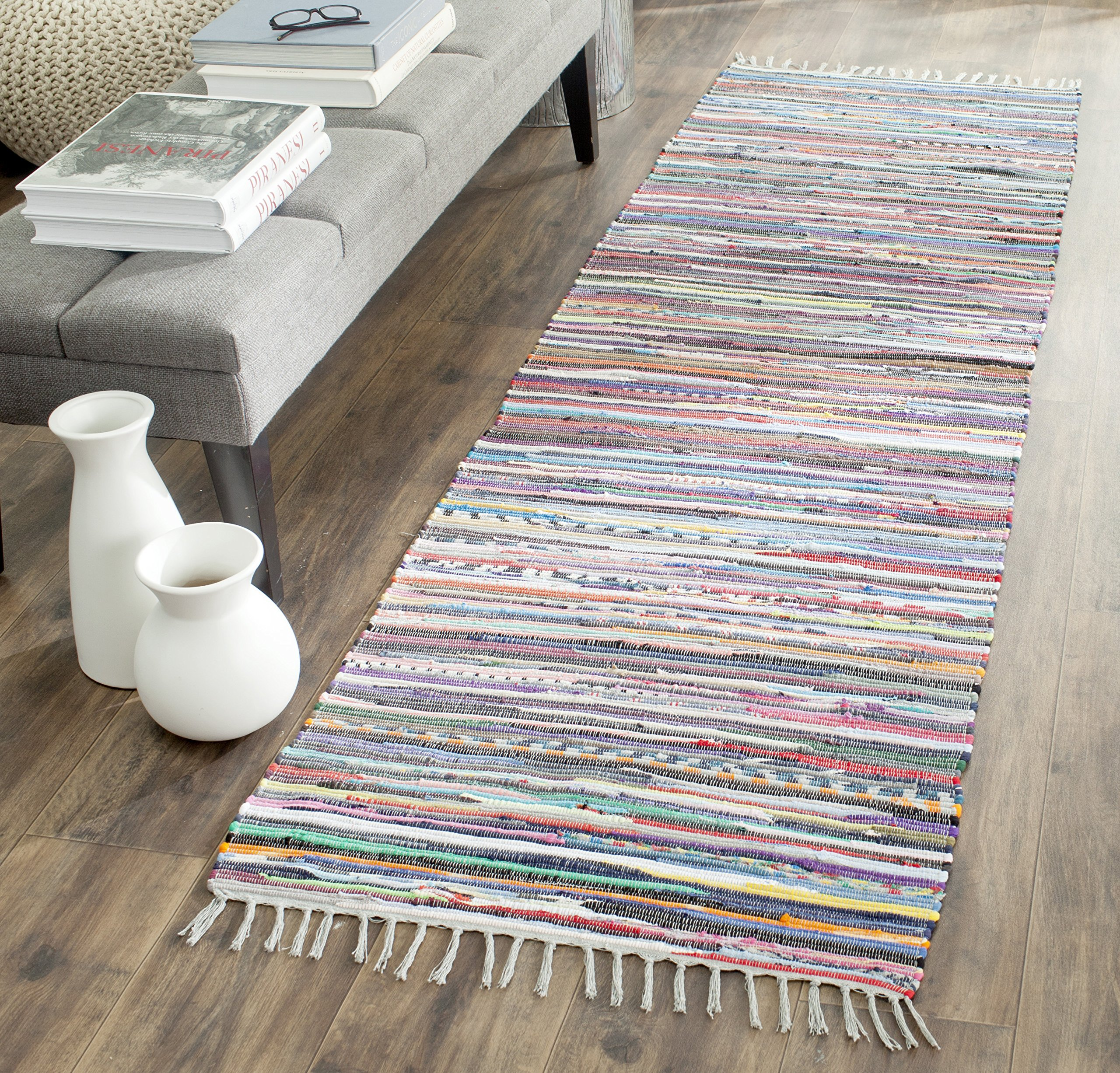 """Safavieh Rag Rug Collection RAR121M Hand-Woven Grey and Multi Flatweave Cotton Runner (2'3"""" x 12') - Each rug is Hand made and Hand Woven to add style and durability Each rug is handmade with premium cotton The bright, modern style of this rug will give your room a county cottage feel - runner-rugs, entryway-furniture-decor, entryway-laundry-room - A13bqgO5FOL -"""