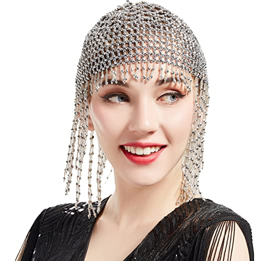 1920s Accessories | Great Gatsby Accessories Guide BABEYOND 1920s Beaded Cap Headpiece Roaring 20s Beaded Flapper Headpiece Belly Dance Cap Exotic Cleopatra Headpiece for Gatsby Themed Party (Silver) $14.99 AT vintagedancer.com