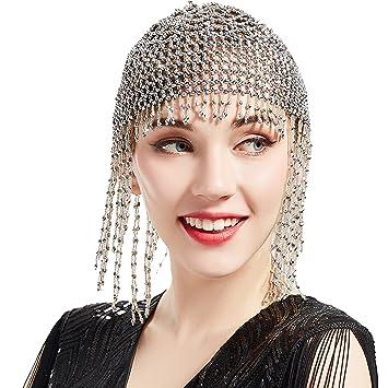 BABEYOND 1920s Beaded Cap Headpiece Roaring 20s Beaded Flapper Headpiece  Belly Dance Cap Exotic Cleopatra Headpiece 94b40a20c45
