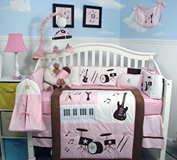 soho pink and brown rock band baby crib nursery bedding set 13 pcs included diaper bag