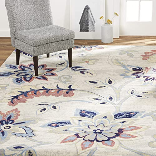 Home Dynamix Tremont Teaneck Transitional Area Rug, Floral Ivory Navy 7 10 x10 5
