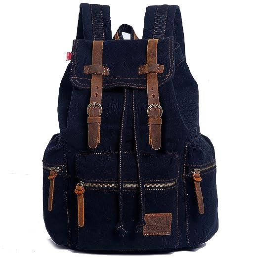 156 opinioni per EcoCity- Zaino vintage in tela, porta computer, scuola, nero
