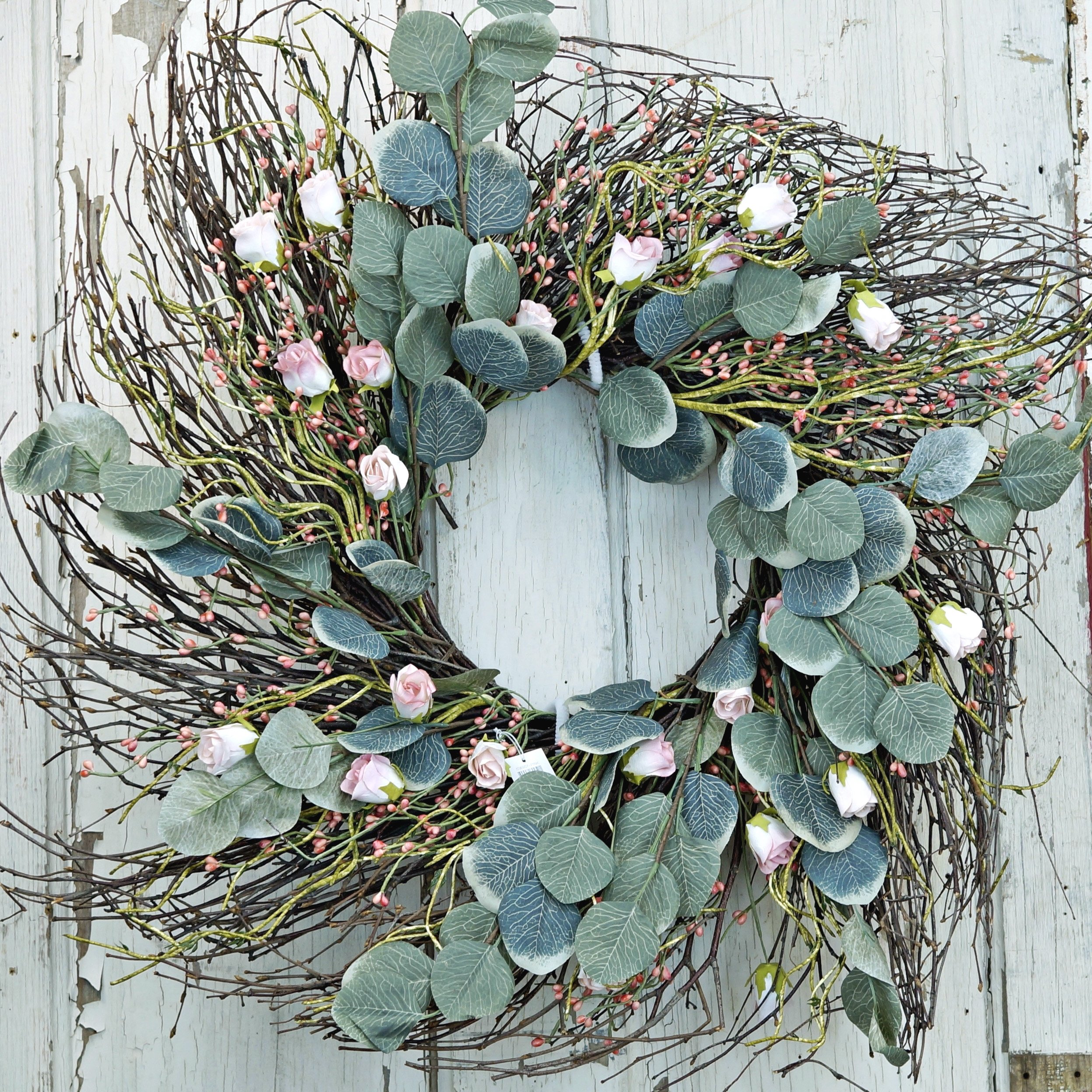 24'' Pink Rose with Eucalyptus Leaves Wreath