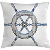 Nautical Decor Throw Pillow Cushion Cover by Ambesonne, Illustration Wooden Ship Wheel White Backdrop Sailing Exploring Ocean Theme, Decorative Square Accent Pillow Case, 16 X 16 Inches, Blue White