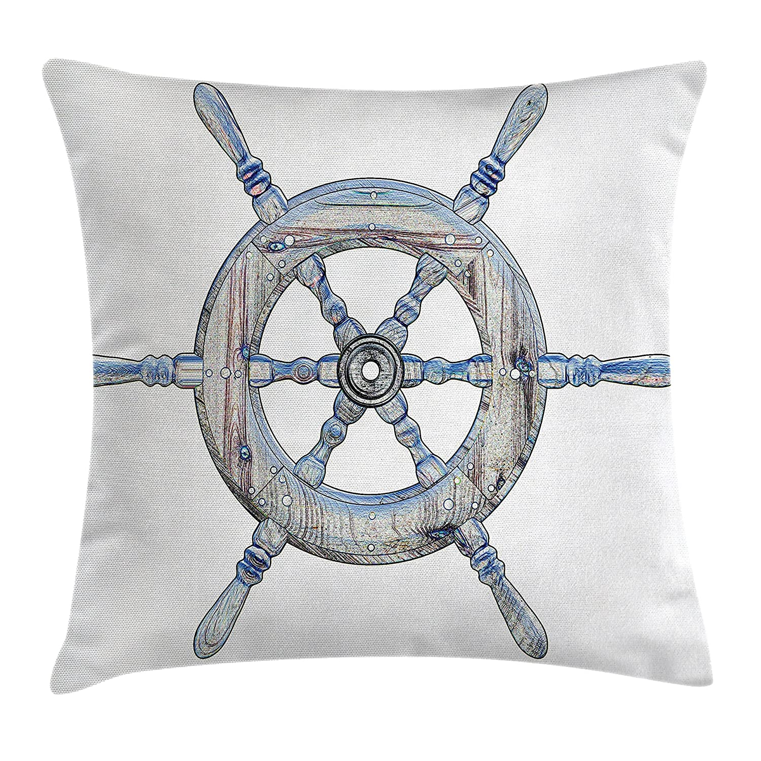 Blue White Ambesonne Nautical Decor Throw Pillow Cushion Cover Illustration Wooden Ship Wheel White Backdrop Sailing Exploring Ocean Theme 16 X 16 Inches Decorative Square Accent Pillow Case