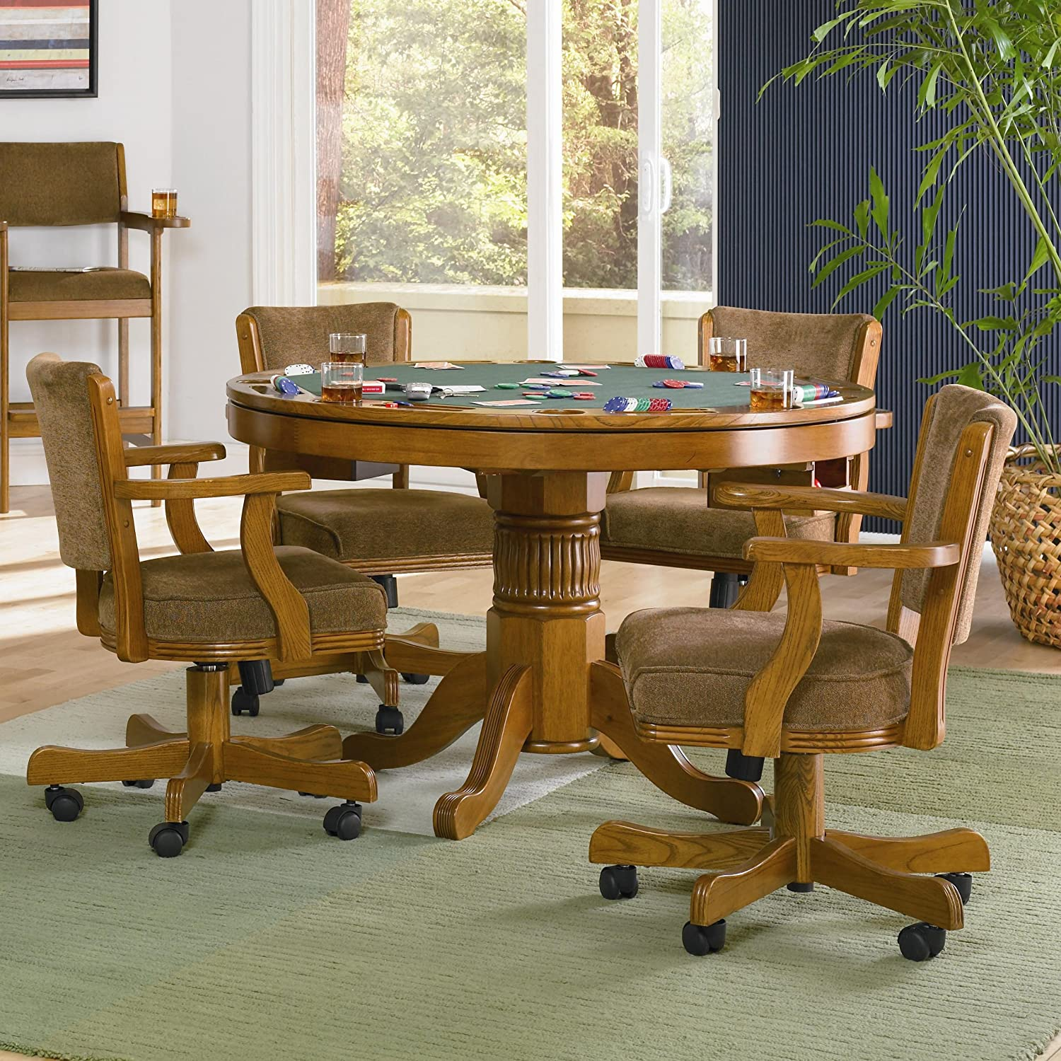 Coaster Home Furnishings Mitchell 5-Piece 3-in-1 Game Table Dining Set Amber and Olive-brown