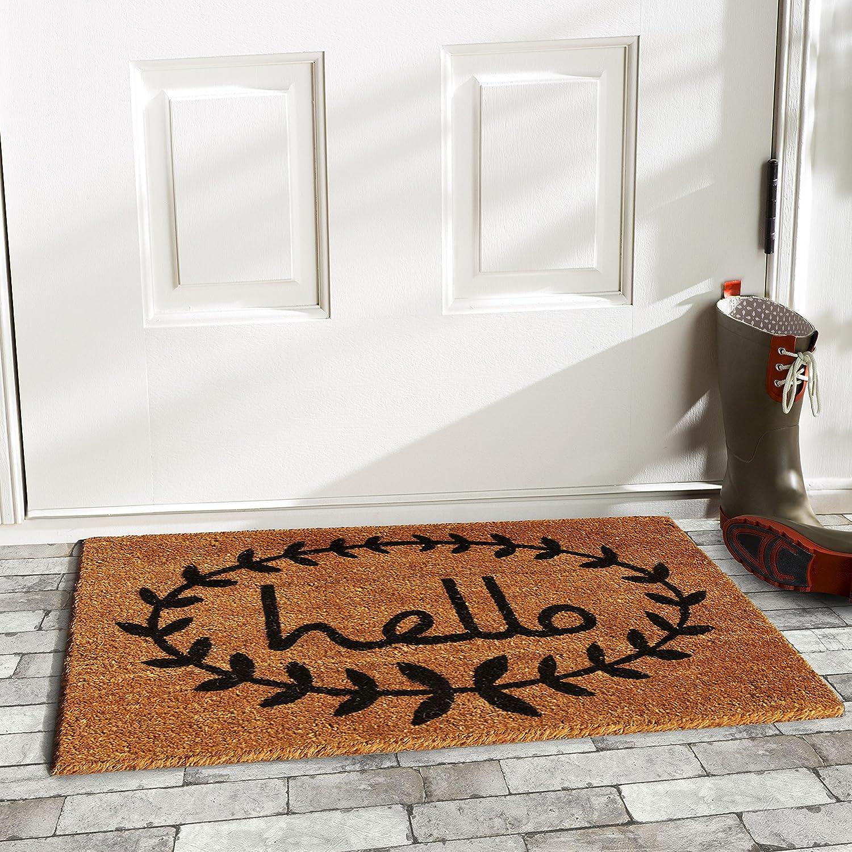 Home /& More 121811729 Calico Hello Doormat 17-Inch X 29-Inch
