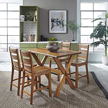 Amazon Com Forest Retreat High Dining Table 4 Stools By Home Styles Table Chair Sets