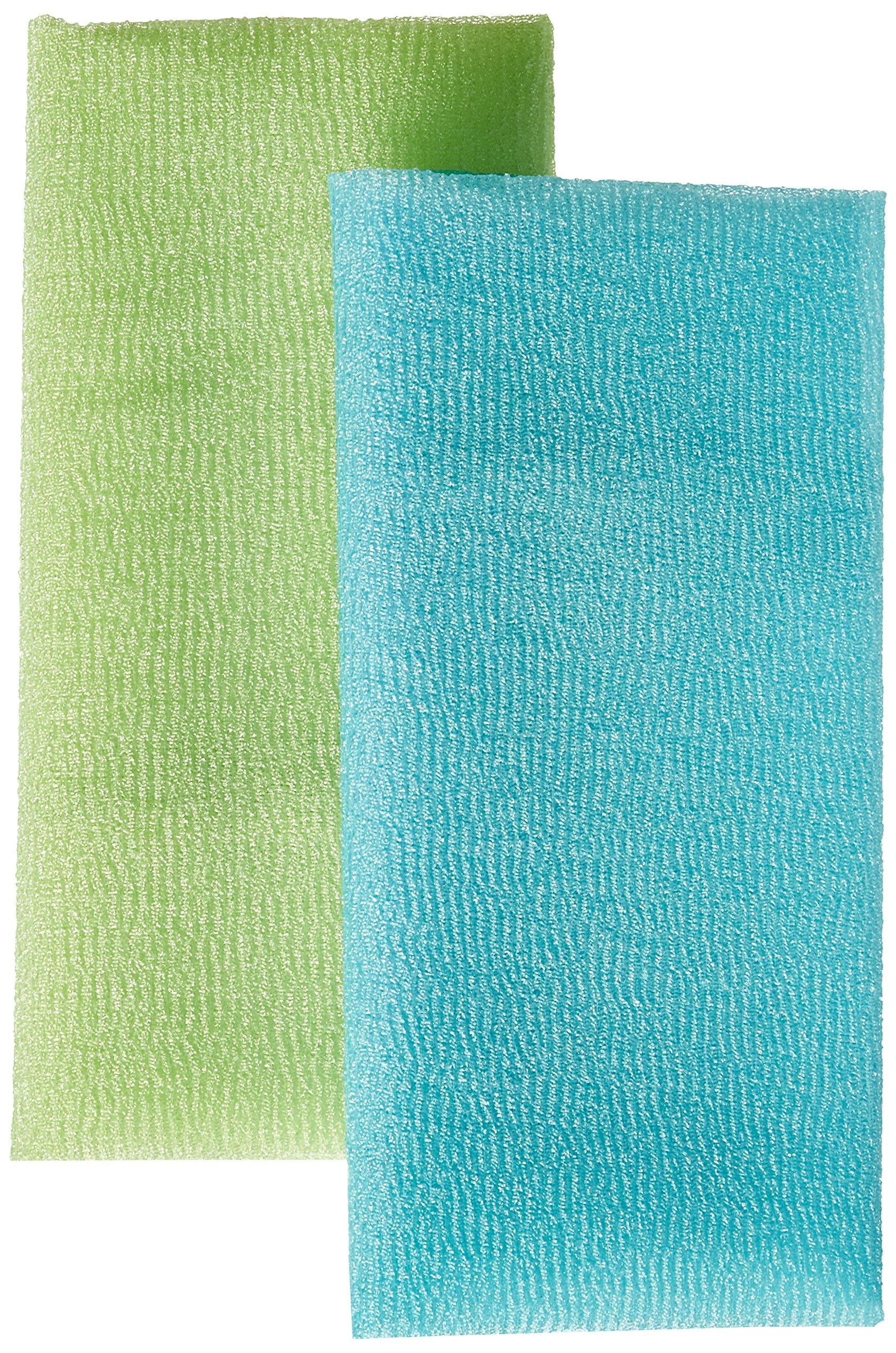 Bath Accessories Bigger Twin Skin Polishing Towels, Blue Celery