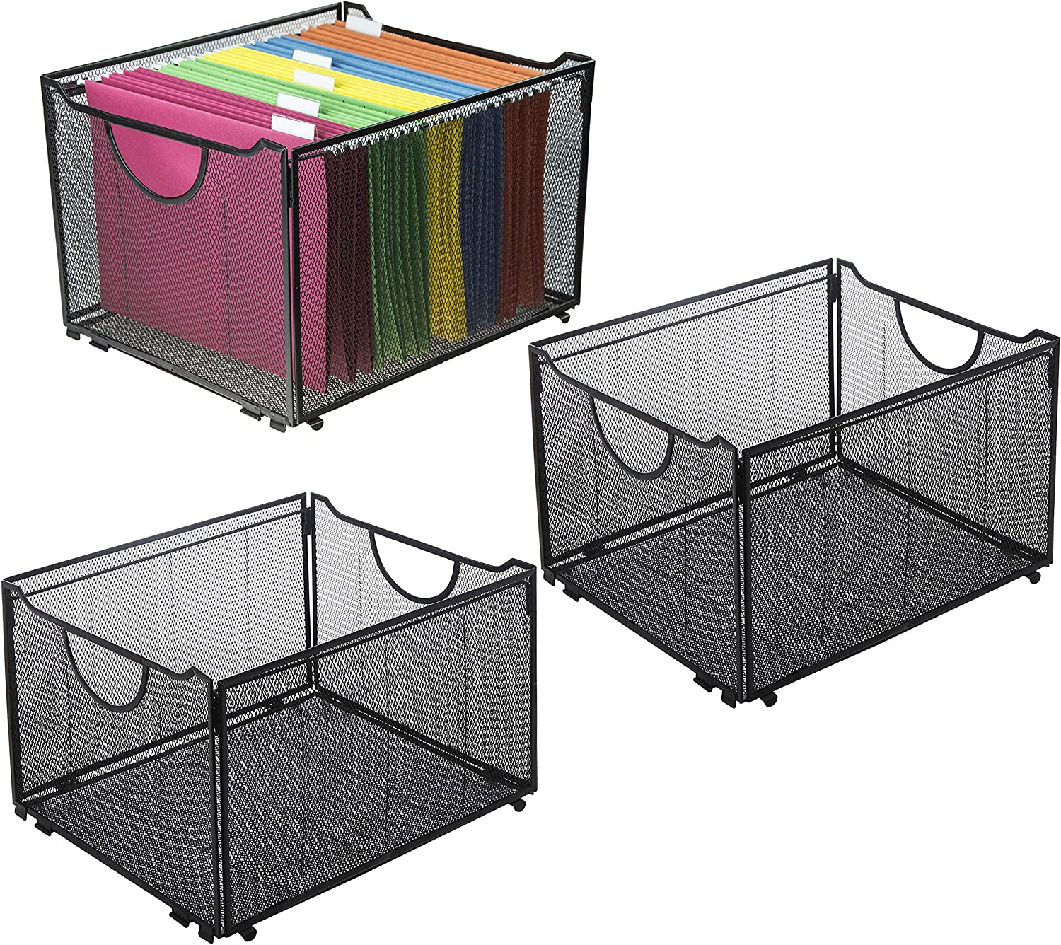 Set of 3 Black Metal Mesh Collapsible File Folder Boxes, Office Storage Crate