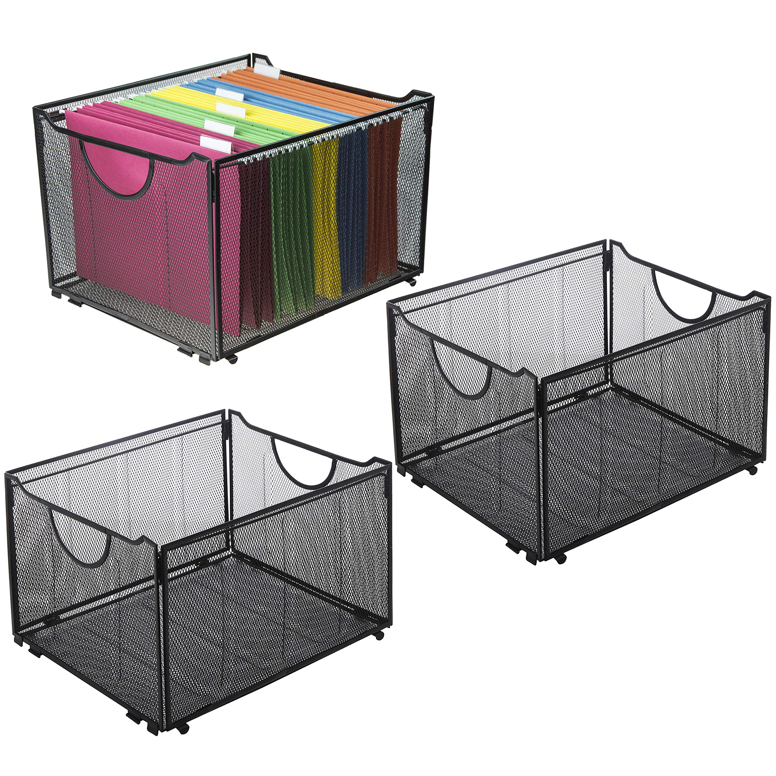 Set of 3 Black Metal Mesh Collapsible File Folder Boxes, Office Storage Crate