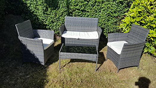 NEW 4PC GARDEN RATTAN PATIO FURNITURE SOFA CHAIR TABLE SET OUTDOOR  CONSERVATORY  Grey
