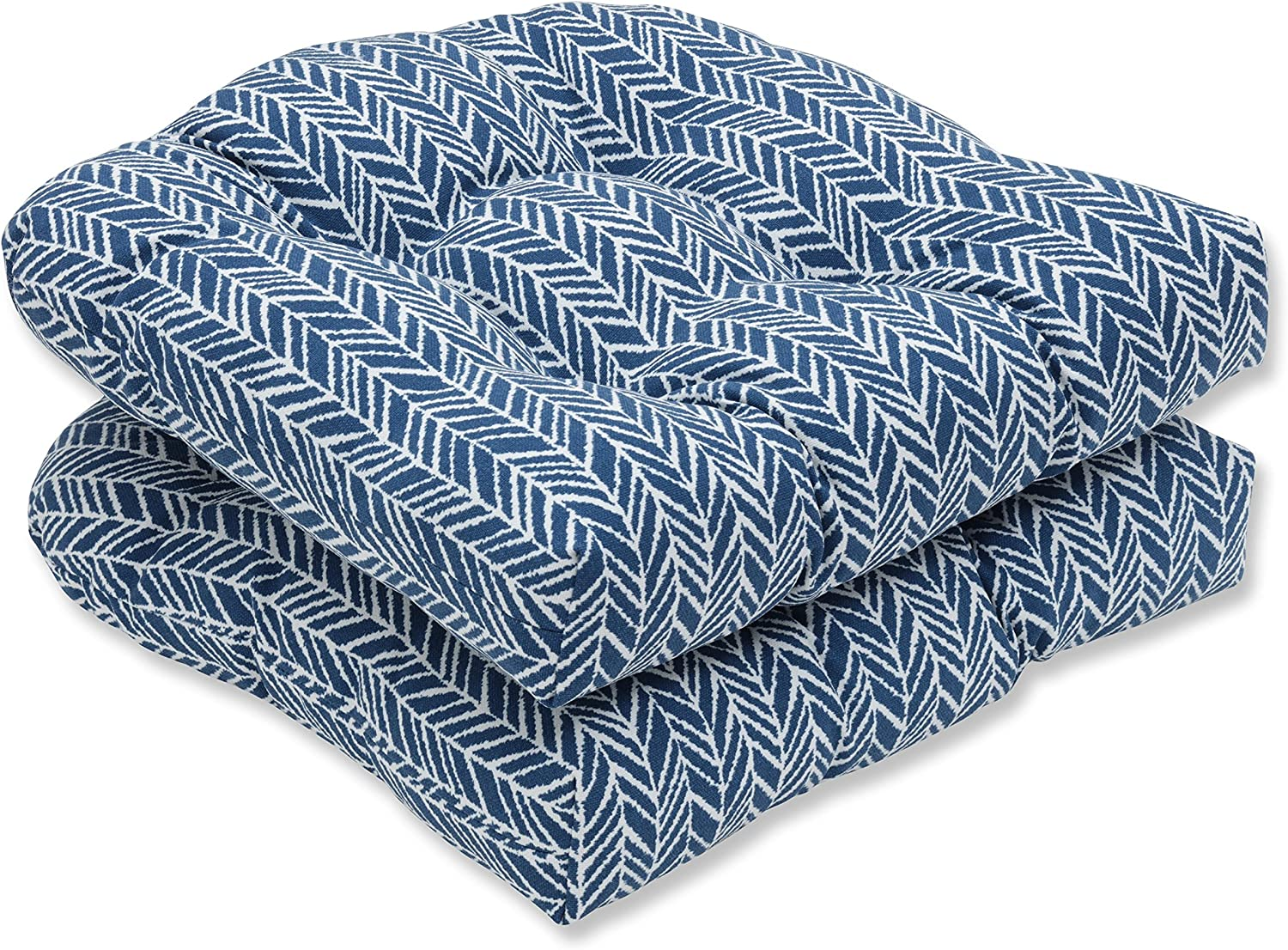 Pillow Perfect Outdoor Indoor Herringbone Ink Blue Wicker Seat Cushion Set of 2, 2 Piece