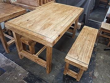 table de salle manger vintage industriel avec banc de chne moyen couleur