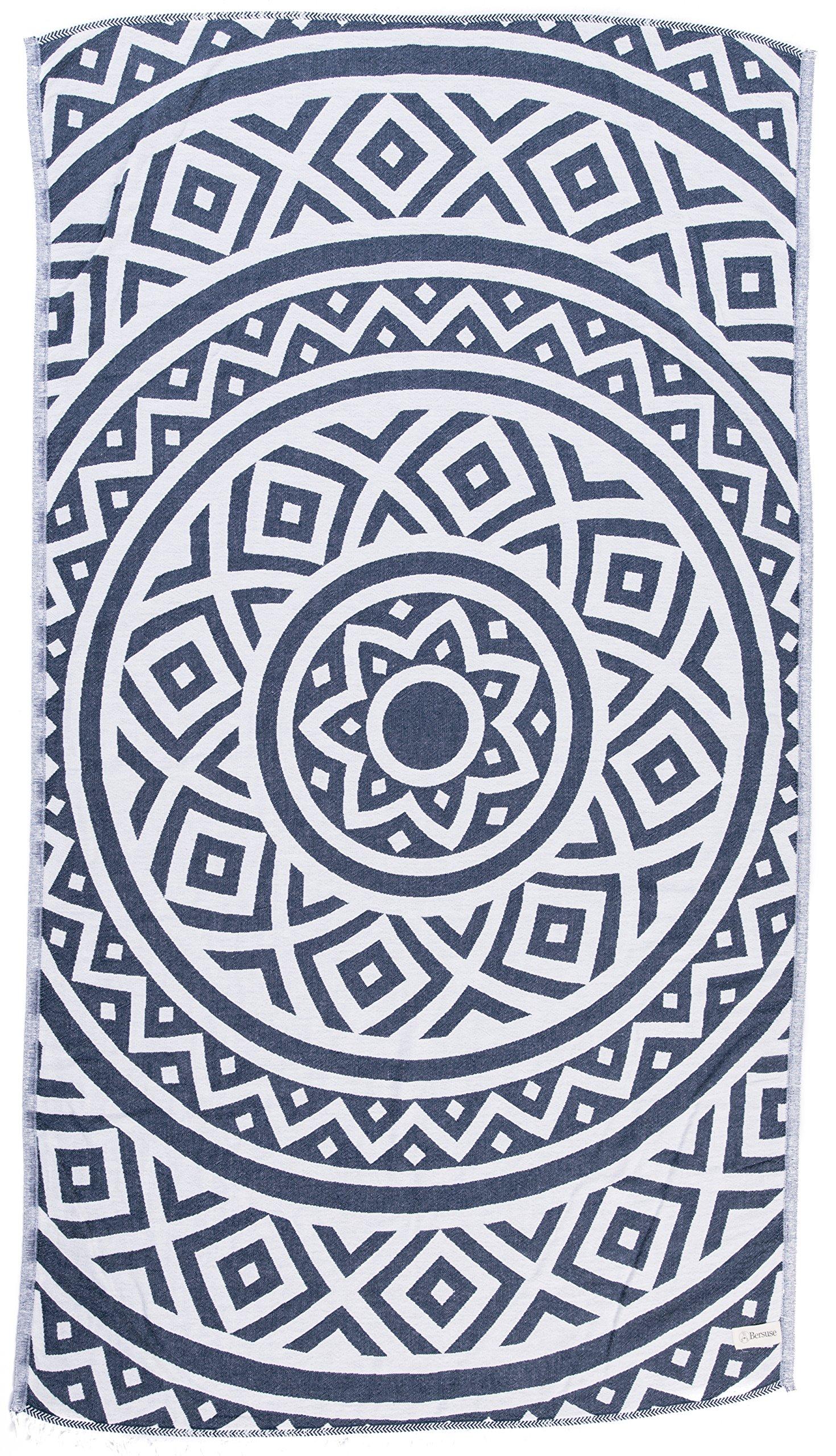 Bersuse 100% Cotton - Venice Turkish Towel - Bath Beach Fouta Peshtemal - Mandala Boho Hippie - Dual-Layer Handloom Pestemal - 39X71 Inches, Dark Blue (Set of 6)