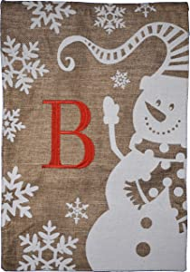 Home Garden Flag Monogram Winter Snowman Burlap Garden Flag 12.5 x 18 (B)