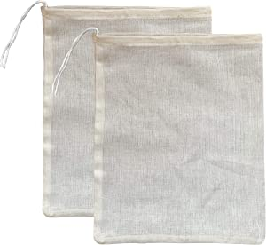 """(2 Pack) Premium Natural Cotton Cheesecloth Bags for Straining Almond Milk, Yogurt, Juice -Extra Large 14""""x12"""" Suorou Nut Milk Bag - Reusable Fine Mesh Cloth Strainer with Easy open Drawstring"""