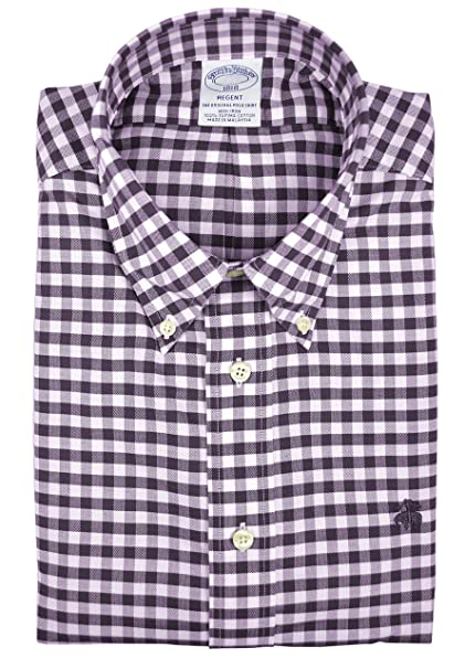 8611a4335d4 Brooks Brothers Men's Gingham Plaid Regent Fit Supima Cotton Button Down  Shirt Burgundy Red (Small