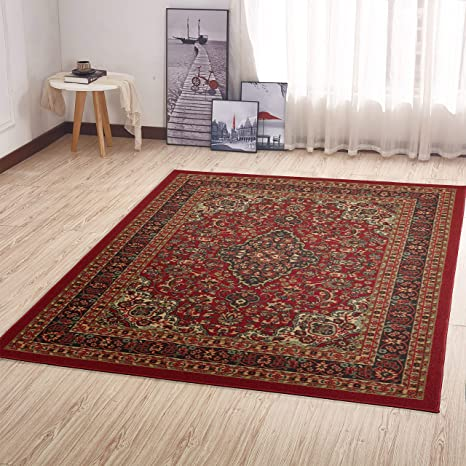 Amazon Com Ottomanson Area Rug 5 0 X 6 6 Red Heriz Home Kitchen