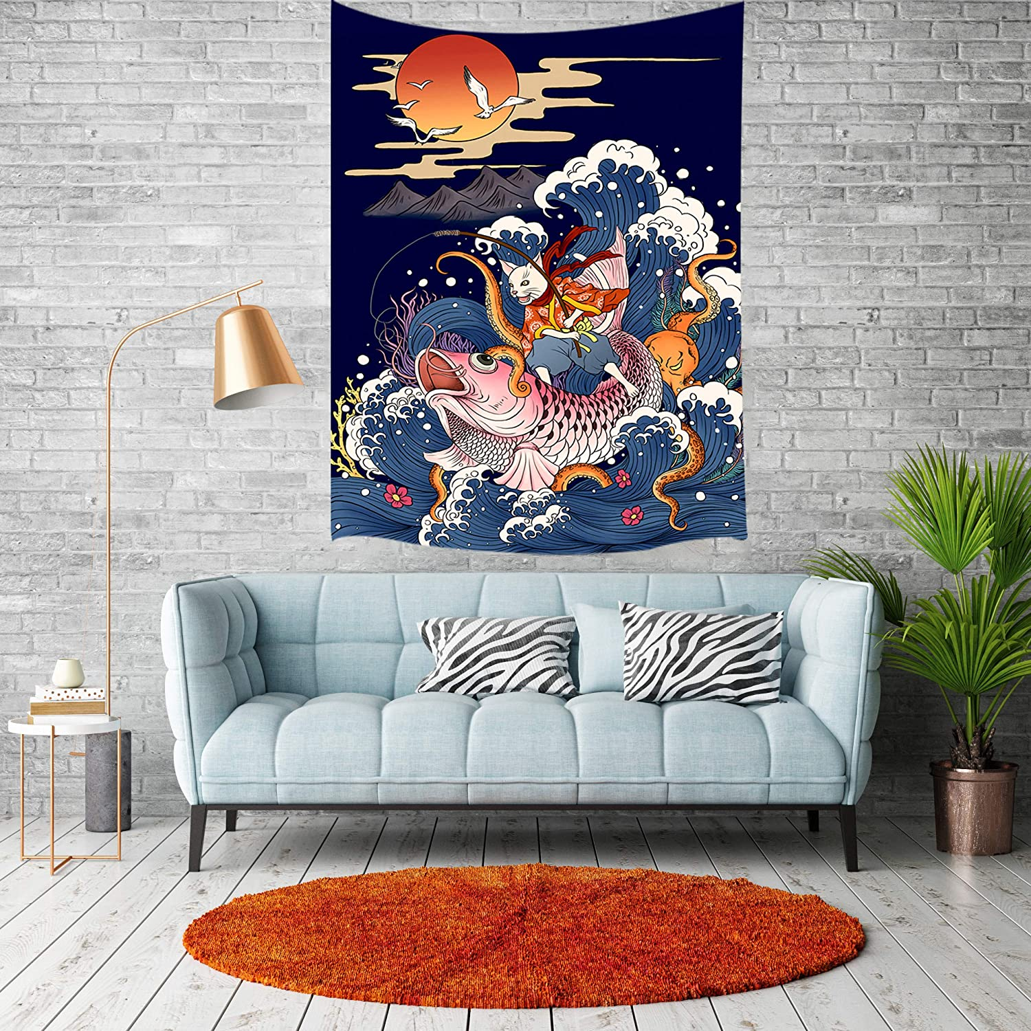JAWO Japanese Ukiyo-e Wall Tapestry Cat on Large Koi Fish in Sea Great Wave Trippy Hipe Wall Hanging Tapestry Blanket for Bedroom Living Room Dorm Wall Decor Art Tapestry Bedspread 40X60 inches
