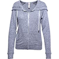 Friday Chic Women's Faux Cashmere Zip up Hooded Jacket (Large, Grey Heather)