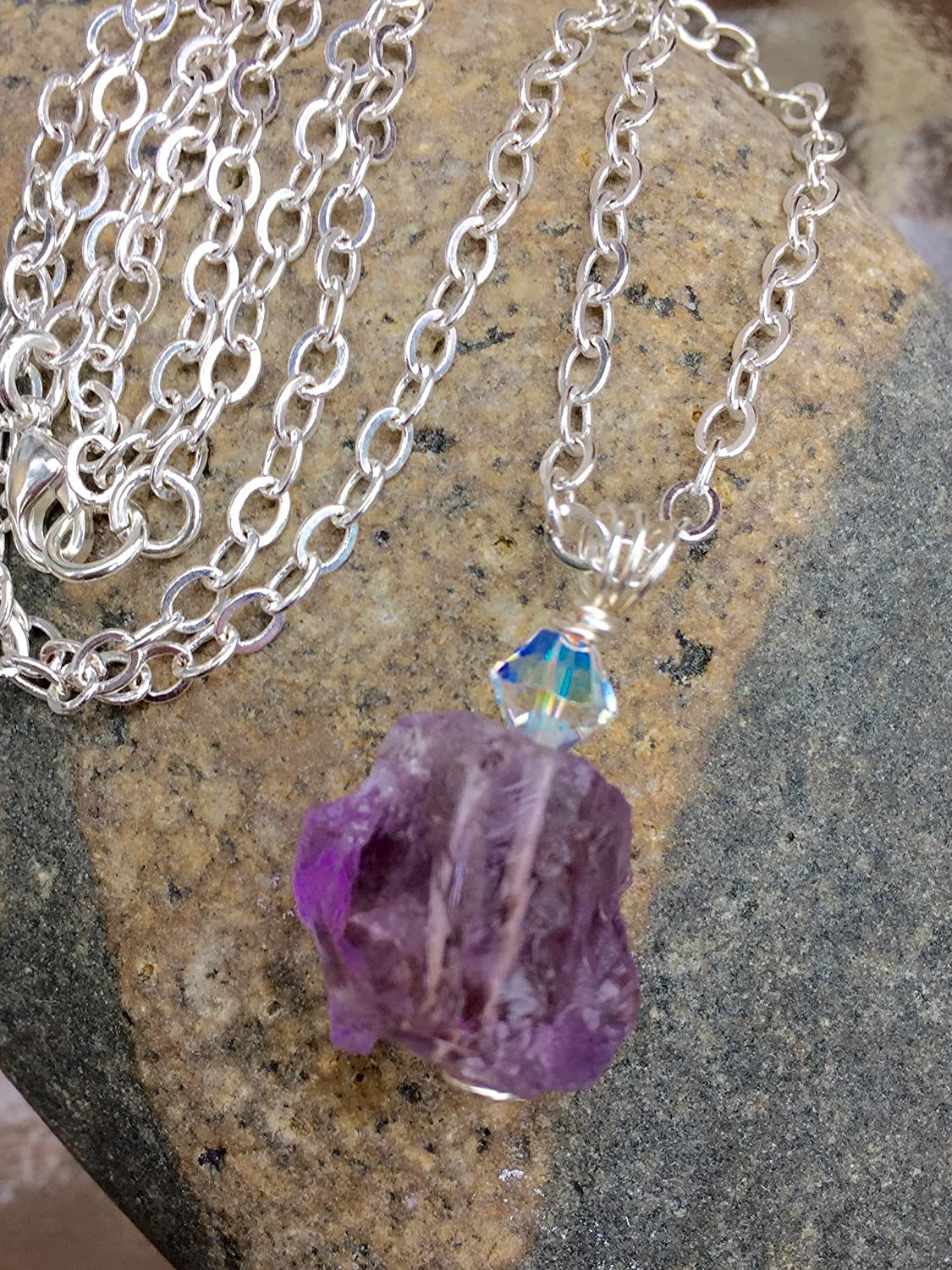 rare long chain hugerect necklace purple limited raw luxe gemstone pendant vintage amethyst pi product rough pieces