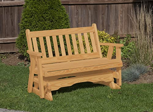 Amish Heavy Duty 800 Lb Mission Pressure Treated Porch Patio Garden Lawn Outdoor Glider-5 Feet-Brown-Made