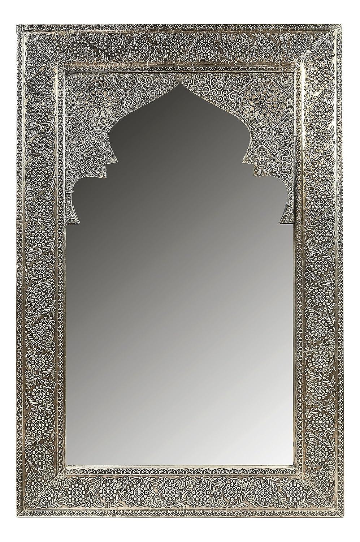 Miroirs muraux cadre en bois recouvert de laiton en Design oriental D/écoration murale orientale dans la Chambre salle de bain ou Salon Miroir mural rectangulaire marocain argent/é Talah 90cm grand