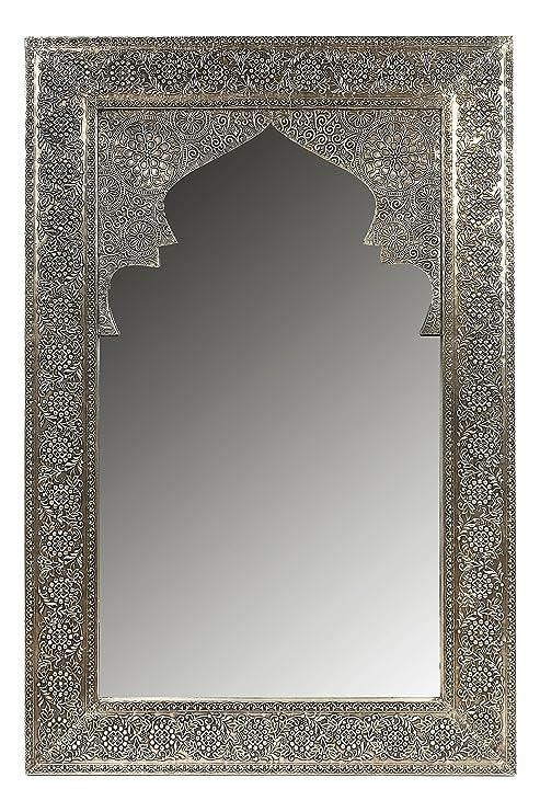 Specchio Bagno Con Cornice Argento.Specchio Da Parete Orientato A Specchio Talah Alto 90 Cm In Argento Grande Specchio Sala Marocchina Con Cornice Orientale Decorata In Legno