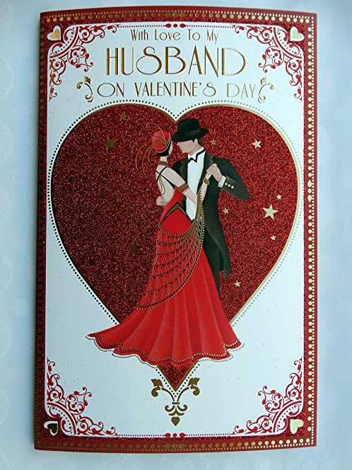 with love to my husband couple dancing art deco design large valentines day card
