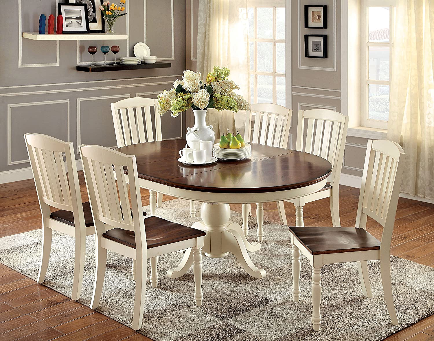 Amazon.com   Furniture Of America Pauline 7 Piece Cottage Style Oval Dining  Set, Vintage White U0026 Dark Oak Finish   Table U0026 Chair Sets