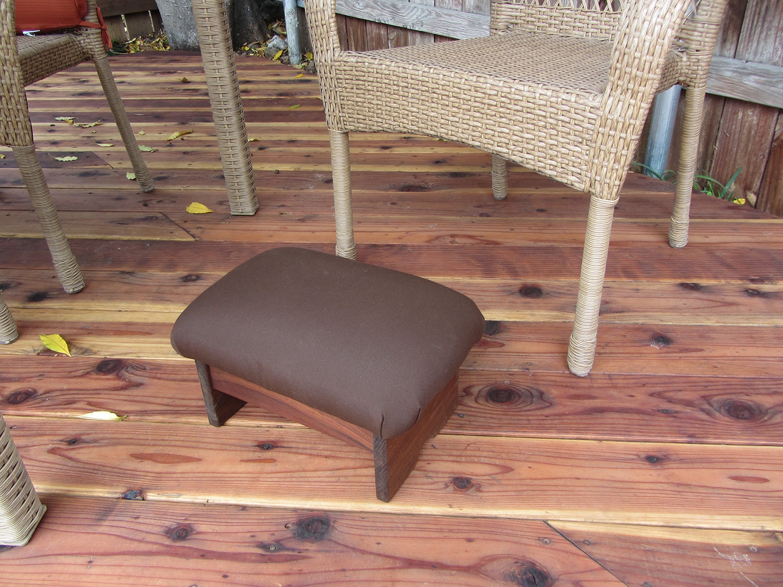 Outdoor Padded Foot Stool Canvas Rich Brown 9'' Tall (Made in the USA) by KR Ideas